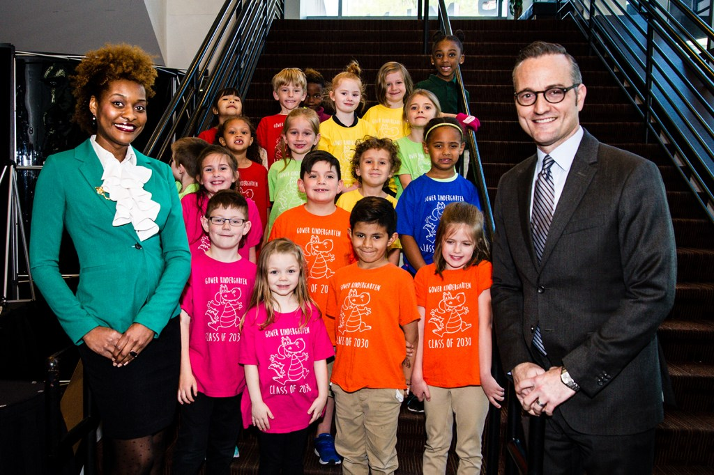 Teacher with group of students and TPAC COO
