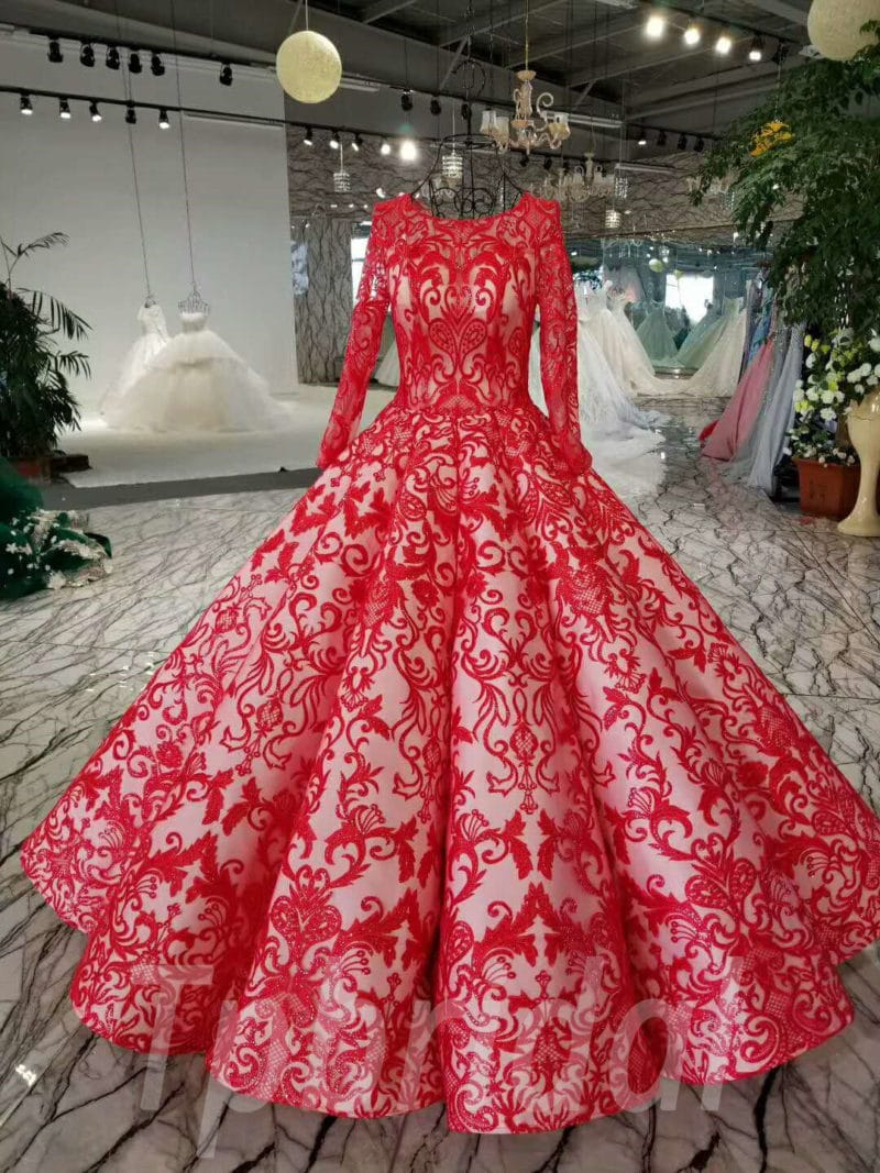 Red Wedding Dress Ball Gown Long Sleeves Prom Dress • tpbridal