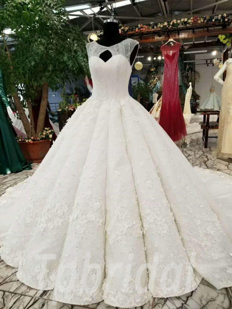 Ball Gown Wedding Dress Crystal Princess Long Train