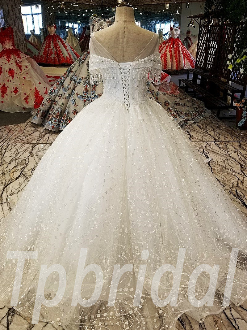 Ball Gown Wedding Dress With Bling Off Shoulder Ivory Bridal