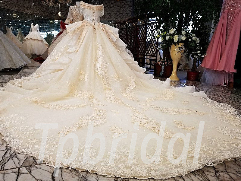 Champagne Color Wedding Dress Lace Off Shoulder Ball Gown