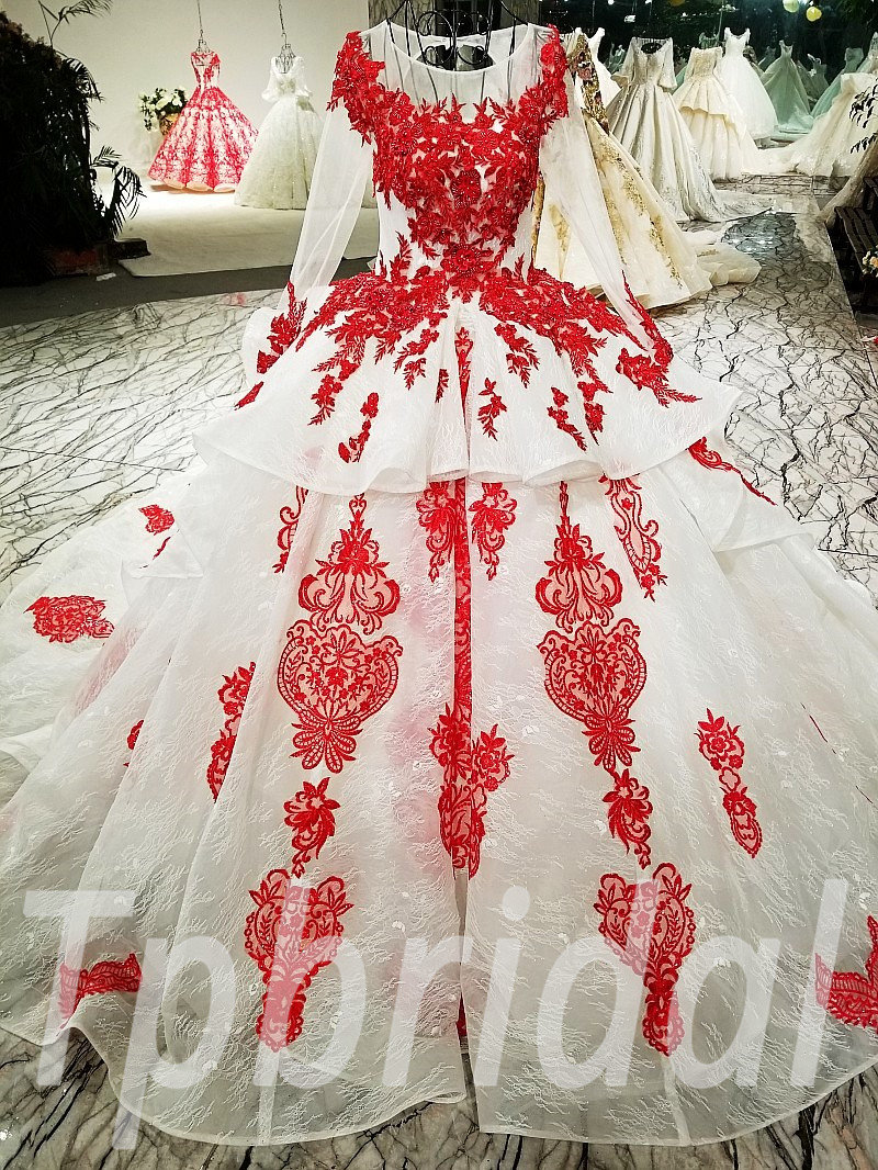 Long Sleeves Wedding Dress Ball Gown Red Bridal Dress Online