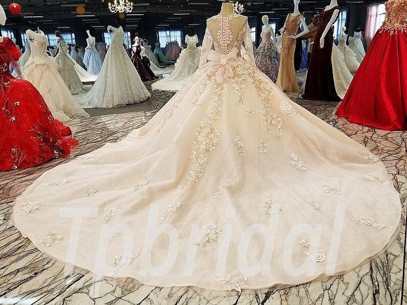 Long Train Wedding Dress Pink Ball Gown Princess Crystal Sale