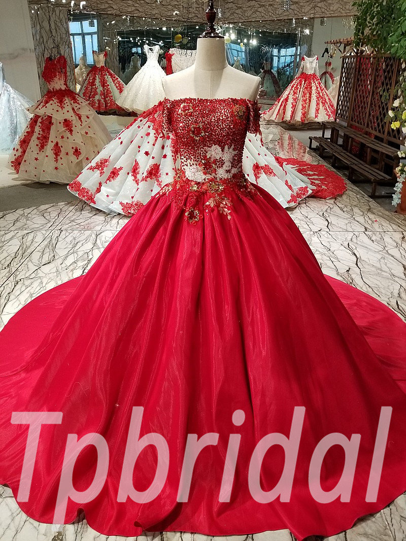 Red Ball Gown Prom Dress Off The Shoulder Party Dress