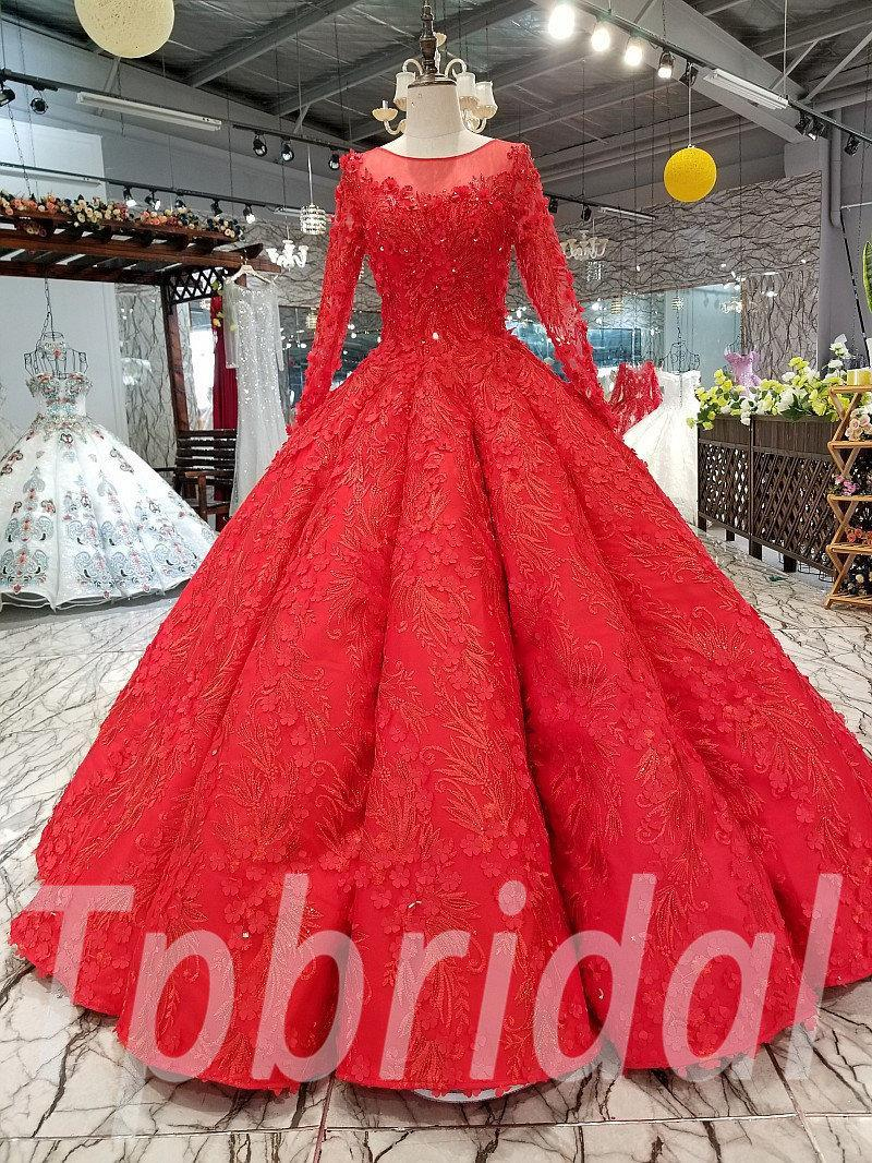 Ball Gowns For Prom Red Long Sleeve Wedding Dress Sale