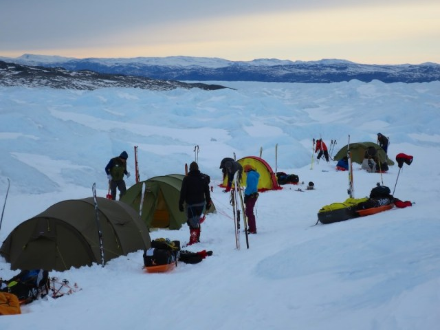 Camp 1 in the icefall