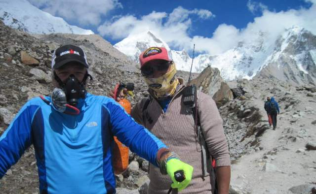 Mike gets oxygen assist from Tsering
