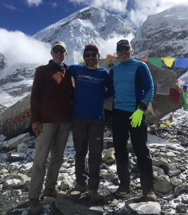 Tom, Tsering and Mike at Everest Base Camp