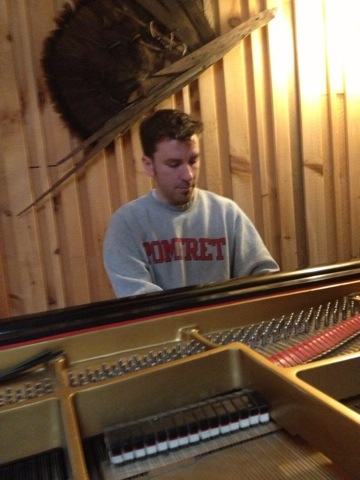 tim warming up the studio piano
