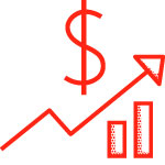 image of a dollar sign and rising growth chart to represent sales temporary staffing