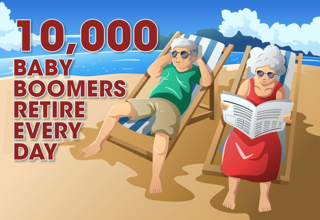 Illustration saying 10,000 baby boomers retire every day.