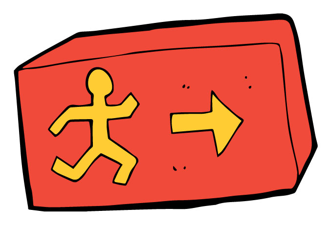 clip art of a stick figure person running towards the exit