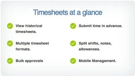 timesheets at a glance