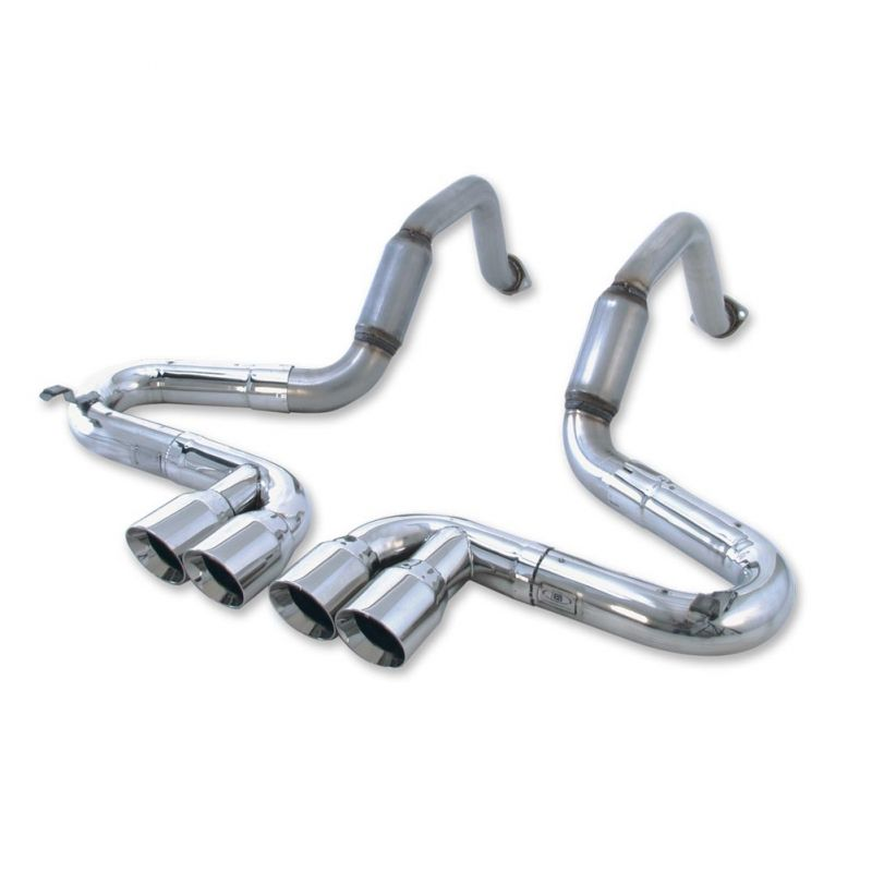 b b bullet corvette exhaust system with quad 4 round tips 97 04 c5 z06