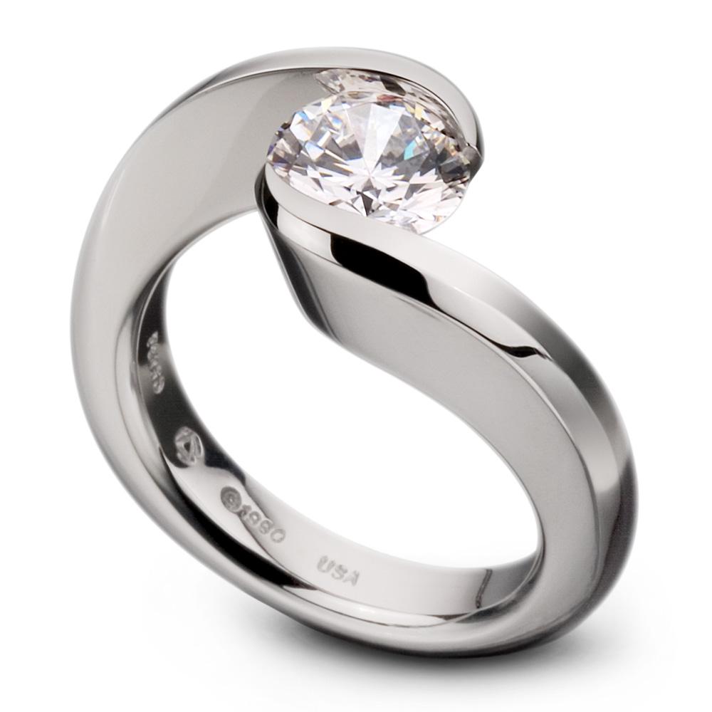 Kretchmer 18 Karat Swirl Tension Set Ring TQ Diamonds