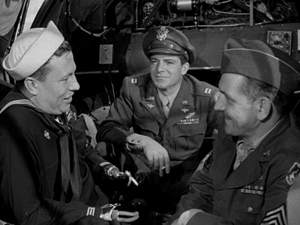Harold Russell, Dana Andrews, Fredric March:  Down in the dumps in a B-24.