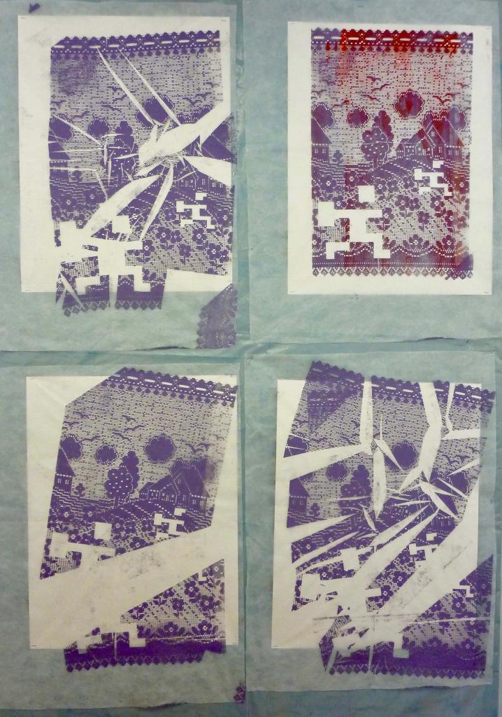 happy hours /// 4 serigraphies 60X80cm on fleece
