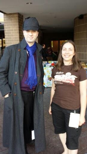 Sherlock Holmes and Traci Loudin at ConCarolinas 2014, a scifi con in Charlotte, NC