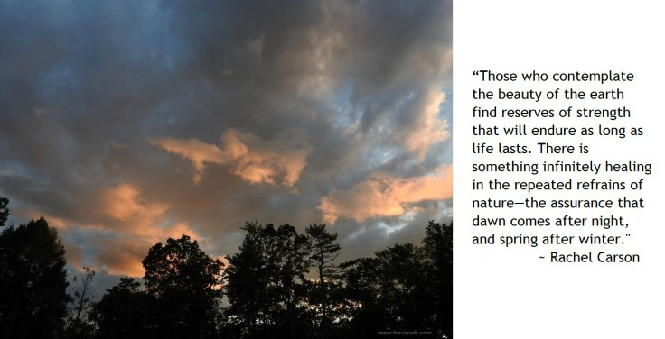 Crazy clouds at sunset  with Carson quote, watermarked