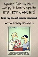 Spoiler for my next Lumpy & Leaky update - IT'S NOT CANCER! (aka my breast cancer concern)