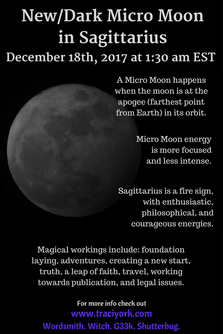 December 18th 2017 New/Dark Micro Moon in Sagittarius