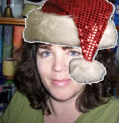 my profile pic with a sequin Santa hat for Steemit Freewrite