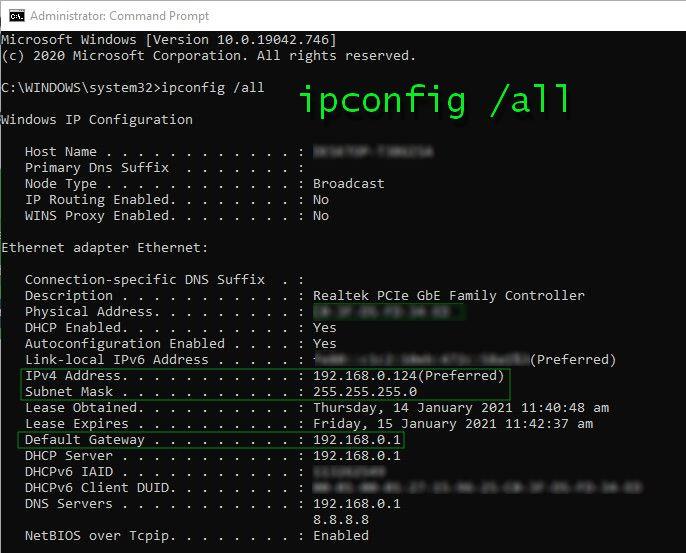 Command Prompt default gateway