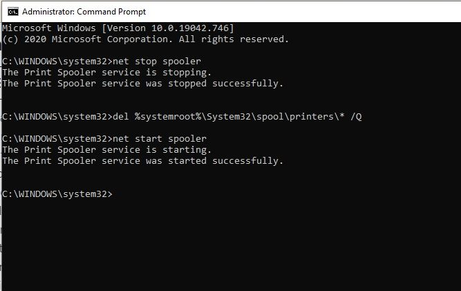 Stop Print Spool Service Command Prompt