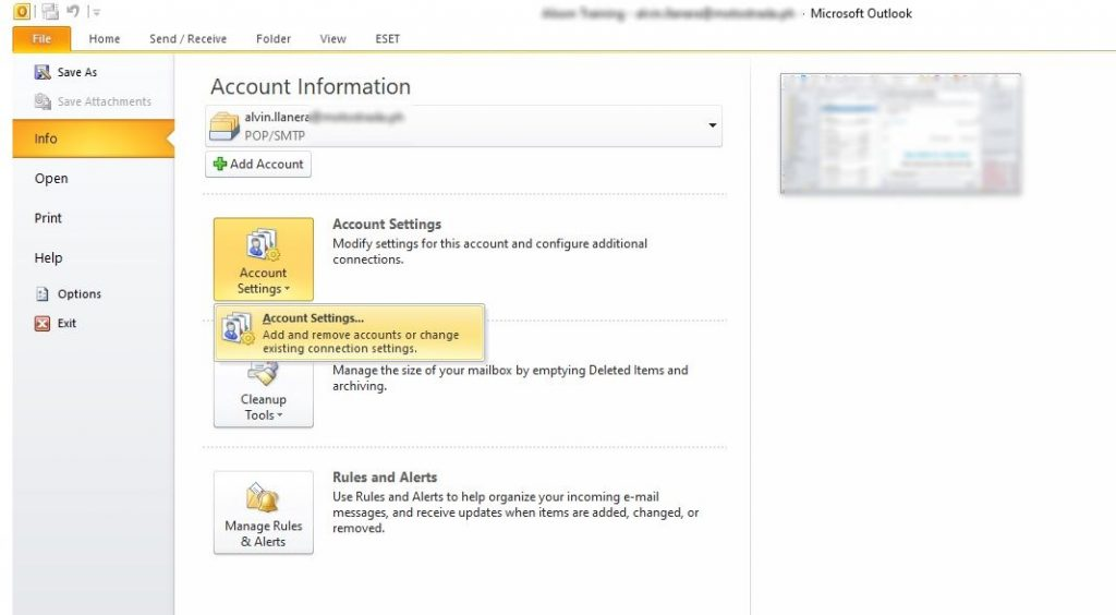 Outlook 2010 Account Settings