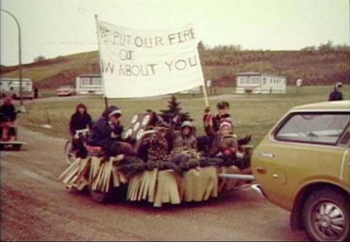 Cub Scout parade float in PMQ (private married quarters) area, circa 1976, CFS Dana, Saskatchewan