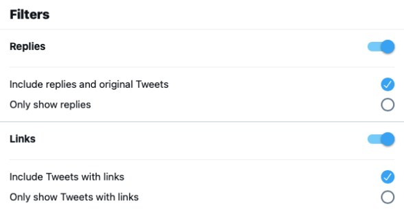Tweet Filters at Twitter advanced search