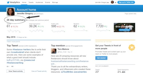 native Twitter analytics: home section
