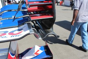 A Foyt spare front wing. You can see the added material and rivets on the curved lower element.