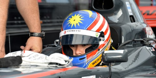 Weiron Tan, who has dominated Pro Mazda presented by Cooper Tire practice gets ready for practice.  ((Photo courtesy of Indianapolis Motor Speedway, LLC Photography)