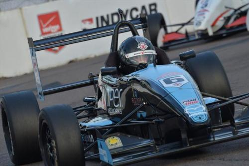 The Juniper Networks,/Synercomm Inc. sponsored No. 6 of Max Hanratty negotiates the tight quarters of the St. Petersburg street circuit.  (Photo courtesy of Indianapolis Motor Speedway, LLC Photography)