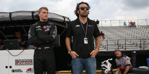 Dario Franchitti and Sage Karam survey the situation at NOLA Motorsports Park.  Franchitti is serving as the Chip Ganassi Racing rookie's driver coach (Photo Courtesy of IndyCar - Joe Skibinski)