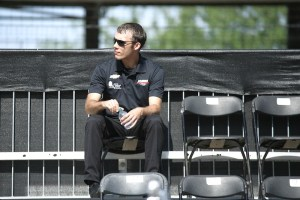 Bryan Clauson arrives early for the drivers meeting.