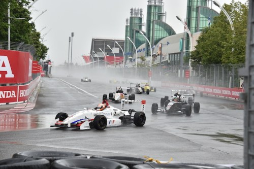 Nico Jamin and his No. 2 Cape Motorsports with /WTR race car leads his closest championship contenders (Eidson, Telitz and Martin) into Turn 1 in Toronto. (Photo courtesy of Indianapolis Motor Speedway, LLC Photography)