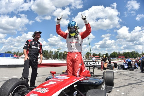 RC Enerson scored his first Indy Lights presented by Cooper Tire in the first race of the Mid-Ohio Sports Car Course weekend.  (Photo courtesy of Indianapolis Motor Speedway, LLC Photography)