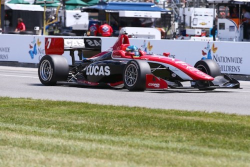 The Lucas Oil sponsored No. 7 of Schmidt Peterson Motorsports with Curb-Agajanian takes home it's first victory at with RC Enerson at the wheel.  (Photo courtesy of Indianapolis Motor Speedway, LLC Photography)
