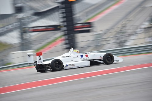 Russian born, but Los Angeles based pilot Nikita Lastochkin testing for Cape Motorsports with /WTR at COTA during the Chris Griffis Memorial Test. (Photo courtesy of Indianapolis Motor Speedway, LLC Photography)
