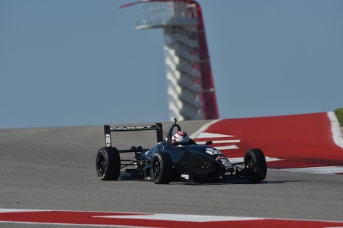 Rickards and his familiar U.S.A. themed red, white and blue helmet wheel around Circuit of The Americas during the Chris Griffis Memorial Test. (Photo courtesy of Indianapolis Motor Speedway, LLC Photography)