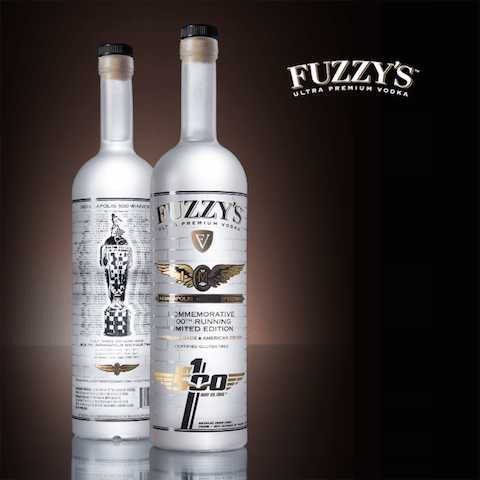 The 750ml Commemorative 100th Running Limited Edition bottles of Fuzzy's Ultra Premium Vodka (photo courtesy of Ed Carpenter Racing)
