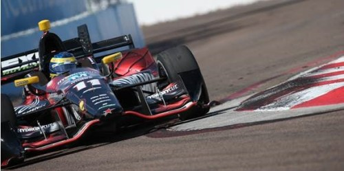 Sebastien Bourdais and the No. 11 Team Hydroxycut Chevrolet attacks the curbs during the Firestone Grand Prix of St. Petersburg (Photo Courtesy of KVSH Racing)