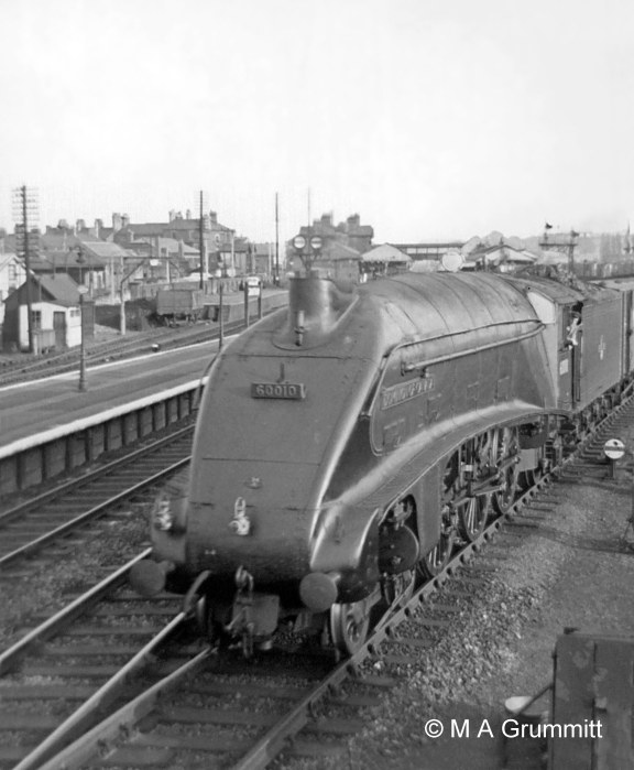 Here is train No. 266, the 'Scotch Goods' from King's Cross Goods Yard to Niddrie in Edinburgh, resuming it journey after stopping to take water on the Goods line. The fireman of this train would normally have refilled its tender at Werrington water troughs just north of Peterborough, and it would rattle through Grantham at speed on the Main line. On this occasion Werrington troughs were out of action for repairs so it was booked to stop at Grantham for water. No.60010 Dominion of Canada. Photograph by Mick Grummitt.
