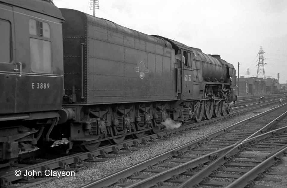 Class A1 No. 60157 Great Eastern departs from Grantham on 9th April 1964. The photograph at the head of the page shows the train's arrival a few minutes earlier. Photograph by Cedric A. Clayson