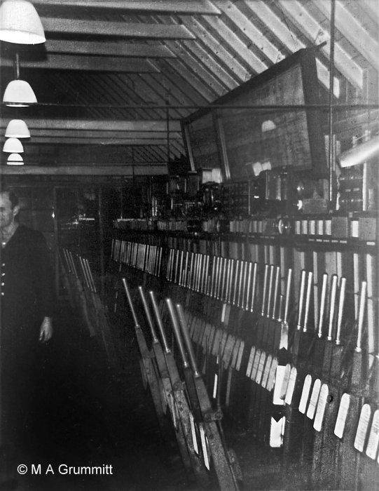 The interior of Grantham North box at night, looking north. Photograph by Mick Grummitt.