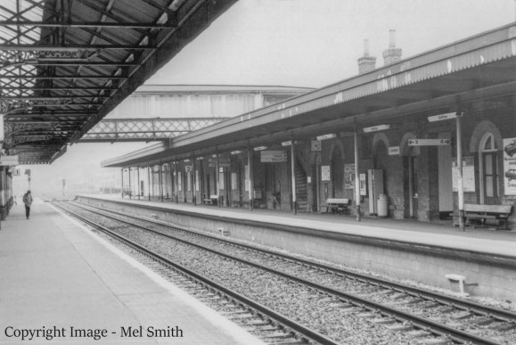 A general view of the buildings on platform 2 looking south. Copyright Image - Mel Smith