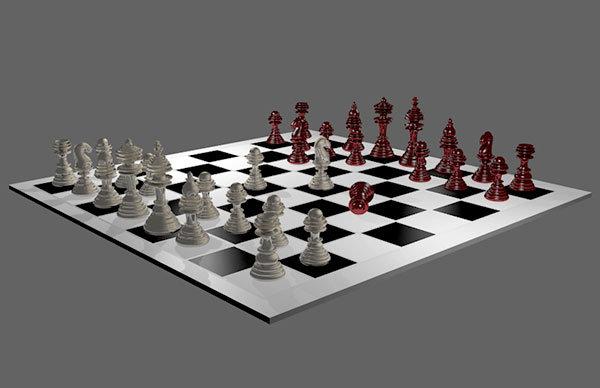 blender 3d tablero ajedrez