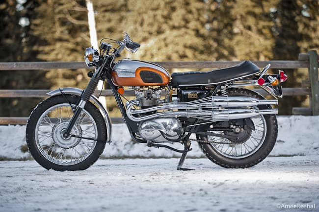 An Enduro-style 1972 Triumph T100C Motorcycle Feature